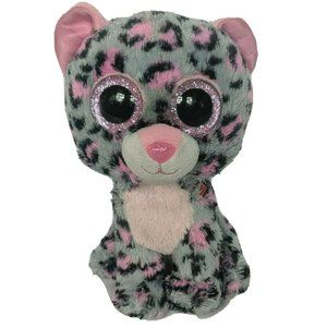 "Ty Beanie Boo Tasha Grey Pink Leopard Plush 6"""